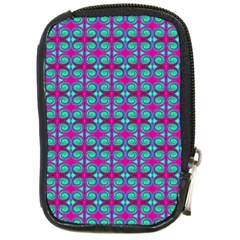 Pink Green Turquoise Swirl Pattern Compact Camera Cases by BrightVibesDesign