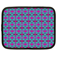 Pink Green Turquoise Swirl Pattern Netbook Case (xl)  by BrightVibesDesign