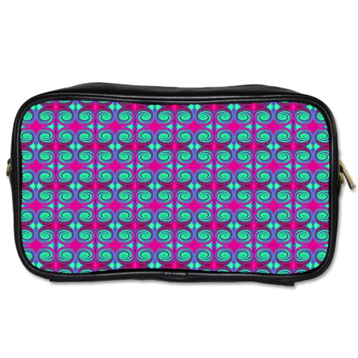 Pink Green Turquoise Swirl Pattern Toiletries Bags