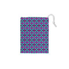 Pink Green Turquoise Swirl Pattern Drawstring Pouches (xs)