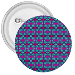 Pink Green Turquoise Swirl Pattern 3  Buttons