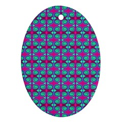 Pink Green Turquoise Swirl Pattern Ornament (oval)