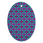 Pink Green Turquoise Swirl Pattern Ornament (Oval) Front