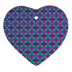 Pink Green Turquoise Swirl Pattern Ornament (heart) by BrightVibesDesign