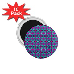 Pink Green Turquoise Swirl Pattern 1 75  Magnets (10 Pack)  by BrightVibesDesign