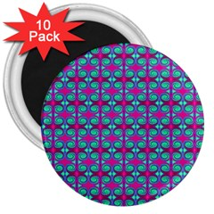 Pink Green Turquoise Swirl Pattern 3  Magnets (10 Pack)