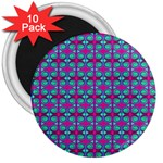Pink Green Turquoise Swirl Pattern 3  Magnets (10 pack)  Front