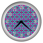Pink Green Turquoise Swirl Pattern Wall Clocks (Silver)  Front