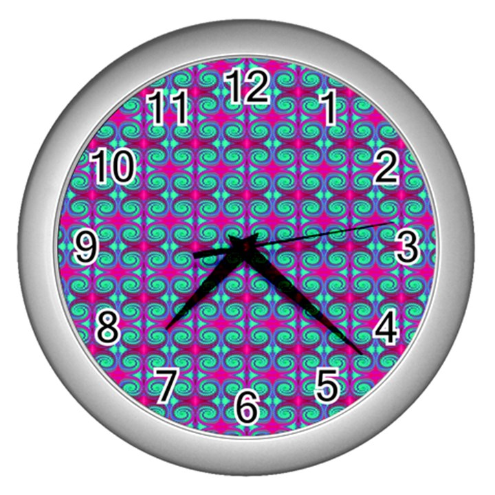 Pink Green Turquoise Swirl Pattern Wall Clocks (Silver)