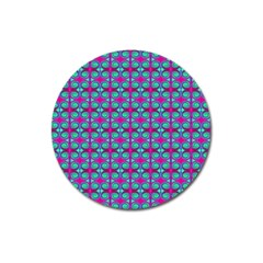 Pink Green Turquoise Swirl Pattern Magnet 3  (round) by BrightVibesDesign