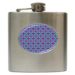 Pink Green Turquoise Swirl Pattern Hip Flask (6 Oz) by BrightVibesDesign