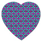 Pink Green Turquoise Swirl Pattern Jigsaw Puzzle (Heart) Front