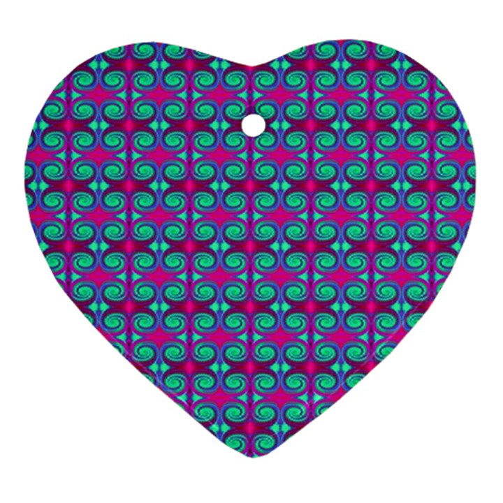 Pink Green Turquoise Swirl Pattern Heart Ornament (Two Sides)