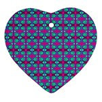 Pink Green Turquoise Swirl Pattern Heart Ornament (Two Sides) Back