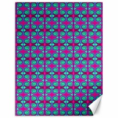 Pink Green Turquoise Swirl Pattern Canvas 12  X 16