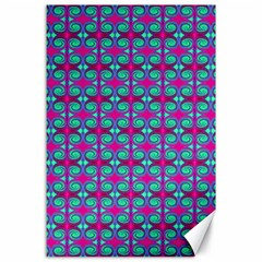 Pink Green Turquoise Swirl Pattern Canvas 24  X 36  by BrightVibesDesign