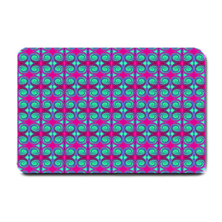 Pink Green Turquoise Swirl Pattern Small Doormat