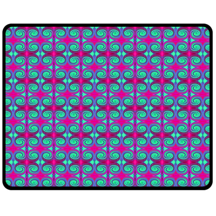 Pink Green Turquoise Swirl Pattern Fleece Blanket (Medium)