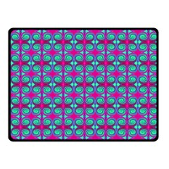 Pink Green Turquoise Swirl Pattern Fleece Blanket (small) by BrightVibesDesign