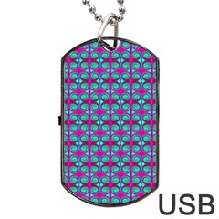 Pink Green Turquoise Swirl Pattern Dog Tag Usb Flash (one Side)