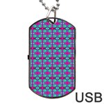 Pink Green Turquoise Swirl Pattern Dog Tag USB Flash (One Side) Front