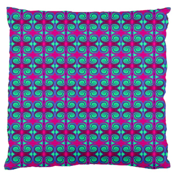 Pink Green Turquoise Swirl Pattern Large Cushion Case (One Side)