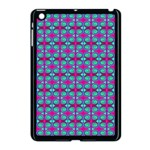 Pink Green Turquoise Swirl Pattern Apple iPad Mini Case (Black) Front