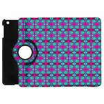 Pink Green Turquoise Swirl Pattern Apple iPad Mini Flip 360 Case Front