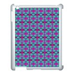 Pink Green Turquoise Swirl Pattern Apple iPad 3/4 Case (White) Front