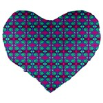 Pink Green Turquoise Swirl Pattern Large 19  Premium Flano Heart Shape Cushions Back