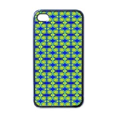 Blue Yellow Green Swirl Pattern Apple Iphone 4 Case (black) by BrightVibesDesign