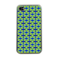 Blue Yellow Green Swirl Pattern Apple Iphone 4 Case (clear) by BrightVibesDesign