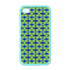 Blue Yellow Green Swirl Pattern Apple Iphone 4 Case (color) by BrightVibesDesign