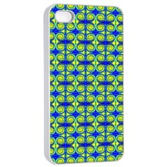 Blue Yellow Green Swirl Pattern Apple Iphone 4/4s Seamless Case (white) by BrightVibesDesign