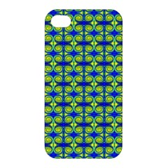 Blue Yellow Green Swirl Pattern Apple Iphone 4/4s Hardshell Case by BrightVibesDesign