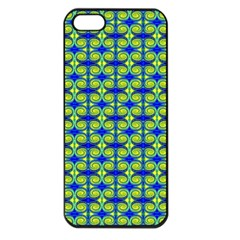 Blue Yellow Green Swirl Pattern Apple Iphone 5 Seamless Case (black)