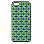 Blue Yellow Green Swirl Pattern Apple iPhone 5 Seamless Case (Black) Front
