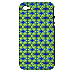Blue Yellow Green Swirl Pattern Apple Iphone 4/4s Hardshell Case (pc+silicone) by BrightVibesDesign