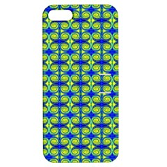 Blue Yellow Green Swirl Pattern Apple Iphone 5 Hardshell Case With Stand by BrightVibesDesign