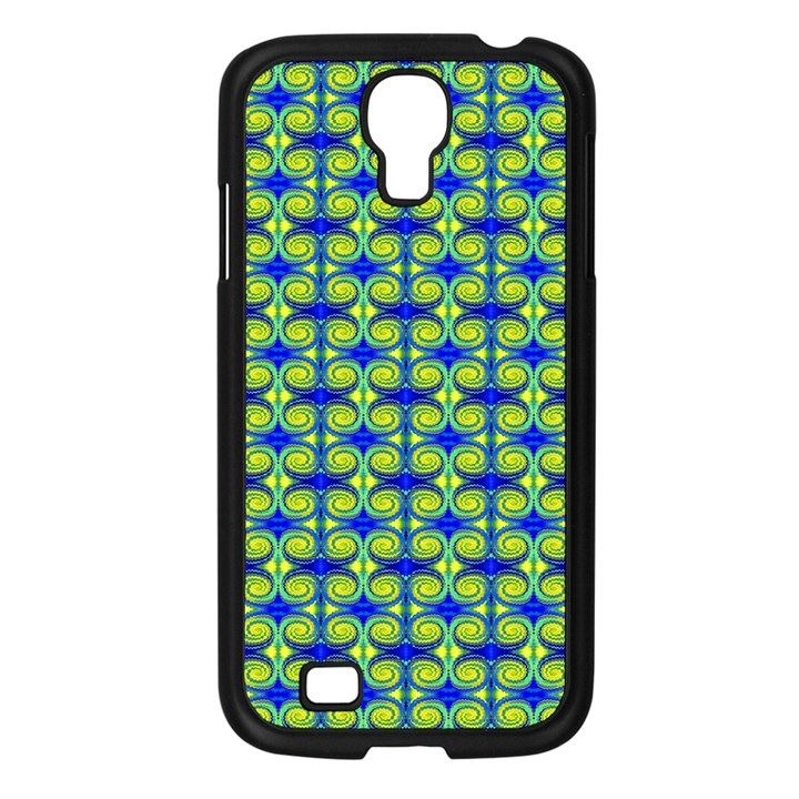 Blue Yellow Green Swirl Pattern Samsung Galaxy S4 I9500/ I9505 Case (Black)