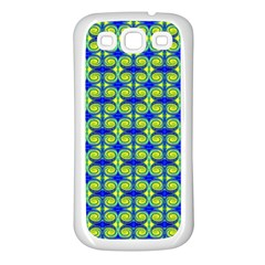 Blue Yellow Green Swirl Pattern Samsung Galaxy S3 Back Case (white) by BrightVibesDesign