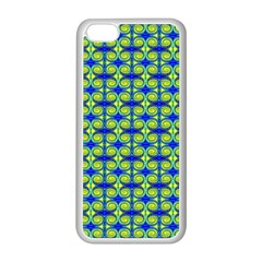 Blue Yellow Green Swirl Pattern Apple Iphone 5c Seamless Case (white) by BrightVibesDesign