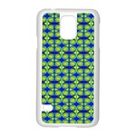 Blue Yellow Green Swirl Pattern Samsung Galaxy S5 Case (White) Front