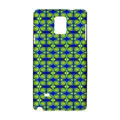 Blue Yellow Green Swirl Pattern Samsung Galaxy Note 4 Hardshell Case by BrightVibesDesign