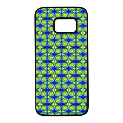 Blue Yellow Green Swirl Pattern Samsung Galaxy S7 Black Seamless Case by BrightVibesDesign
