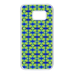 Blue Yellow Green Swirl Pattern Samsung Galaxy S7 White Seamless Case by BrightVibesDesign