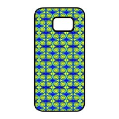 Blue Yellow Green Swirl Pattern Samsung Galaxy S7 Edge Black Seamless Case by BrightVibesDesign