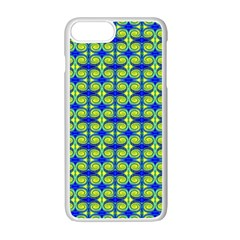 Blue Yellow Green Swirl Pattern Apple Iphone 7 Plus Seamless Case (white) by BrightVibesDesign