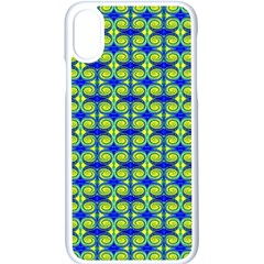 Blue Yellow Green Swirl Pattern Apple Iphone X Seamless Case (white) by BrightVibesDesign