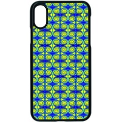 Blue Yellow Green Swirl Pattern Apple Iphone X Seamless Case (black) by BrightVibesDesign